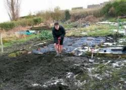 Jayne digging in the Sheffield allotment